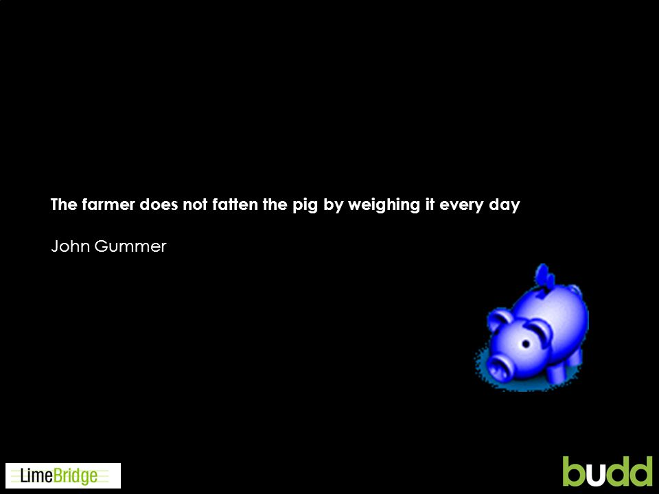 The farmer does not fatten the pig by weighing it every day John Gummer