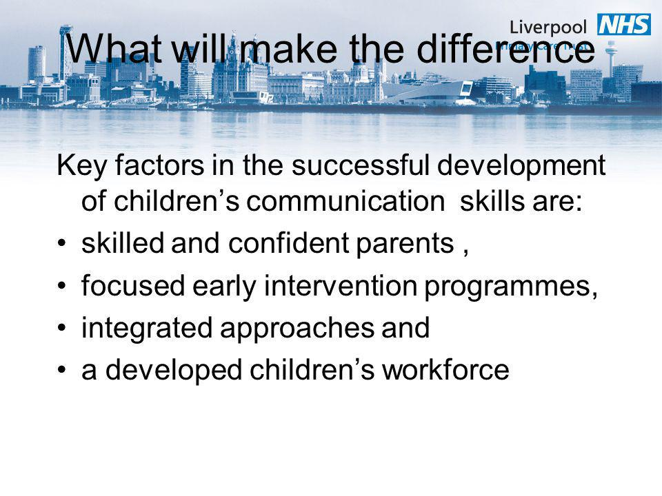 What will make the difference Key factors in the successful development of childrens communication skills are: skilled and confident parents, focused early intervention programmes, integrated approaches and a developed childrens workforce