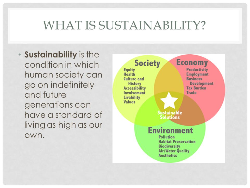 WHAT IS SUSTAINABILITY? Sustainability is the condition in which human society can go on indefinitely and future generations can have a standard of li