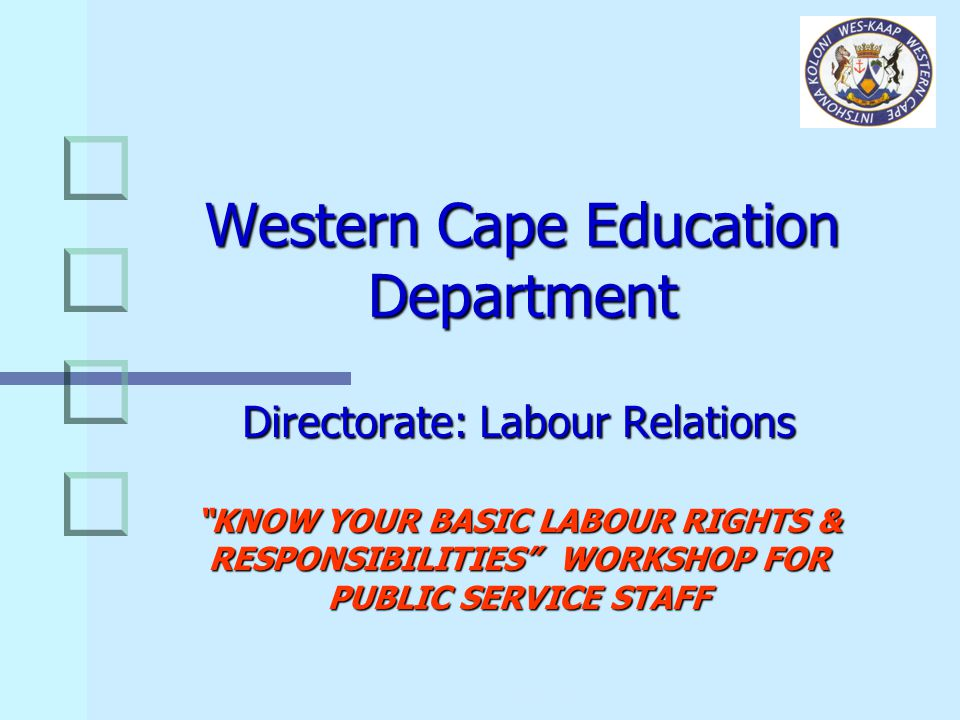 DIRECTORATE: LABOUR RELATIONS - KNOW YOUR RIGHTS WORKSHOP 32 WHAT ARE YOUR RIGHTS .
