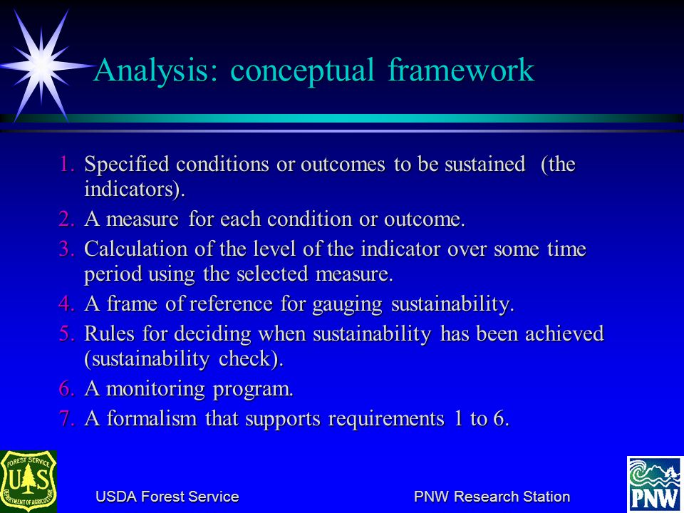 USDA Forest Service PNW Research Station USDA Forest Service PNW Research Station Analysis: conceptual framework 1.Specified conditions or outcomes to