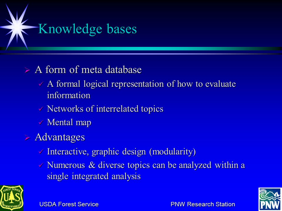 USDA Forest Service PNW Research Station USDA Forest Service PNW Research Station Knowledge bases A form of meta database A form of meta database A fo