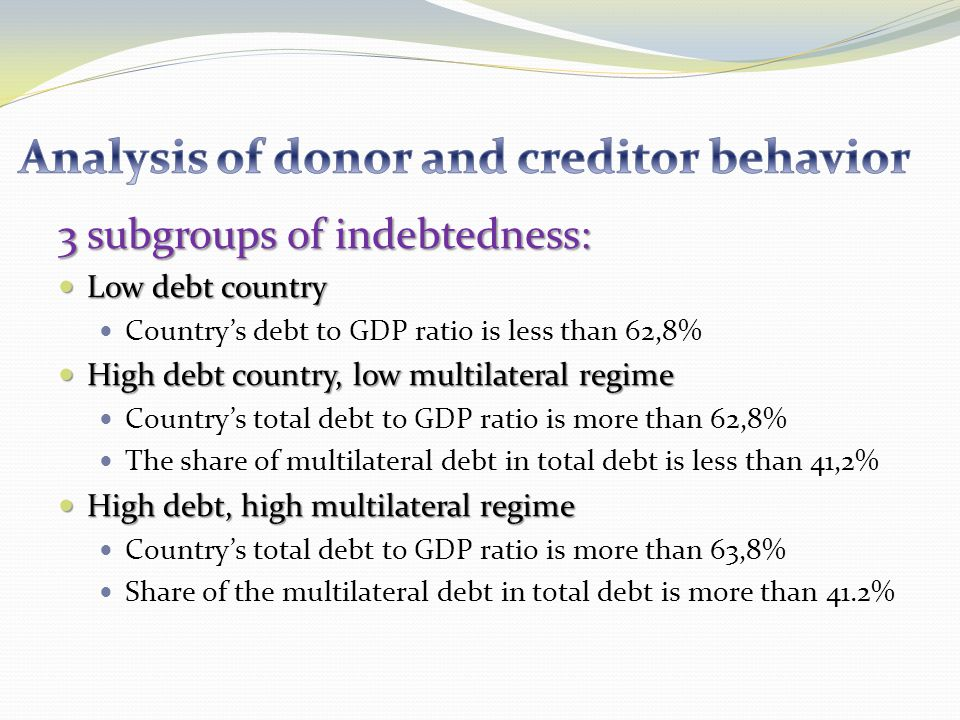 3 subgroups of indebtedness: Low debt country Low debt country Countrys debt to GDP ratio is less than 62,8% High debt country, low multilateral regime High debt country, low multilateral regime Countrys total debt to GDP ratio is more than 62,8% The share of multilateral debt in total debt is less than 41,2% High debt, high multilateral regime High debt, high multilateral regime Countrys total debt to GDP ratio is more than 63,8% Share of the multilateral debt in total debt is more than 41.2%