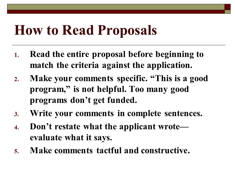 How to Read Proposals 1.