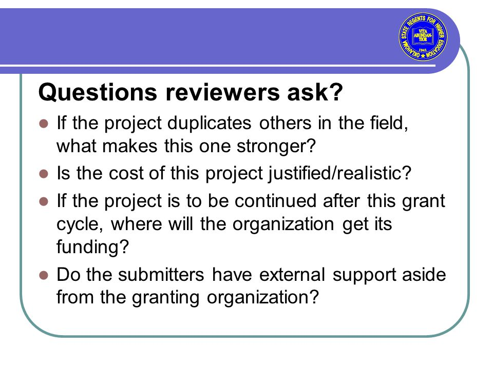 Questions reviewers ask.