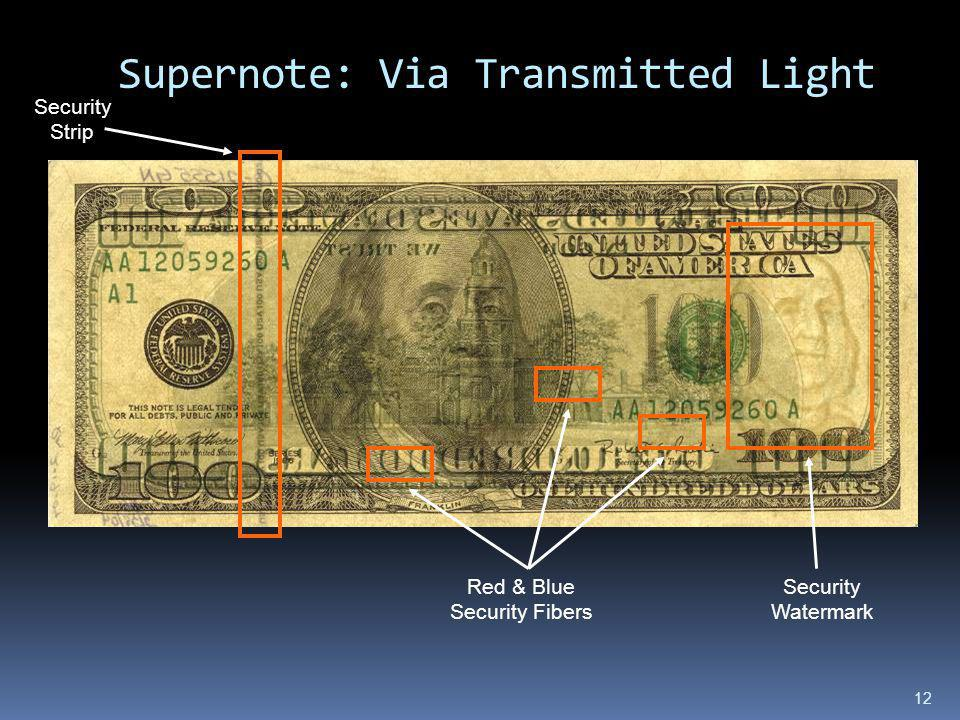 Supernote: Via Transmitted Light 12 Security Watermark Security Strip Red & Blue Security Fibers