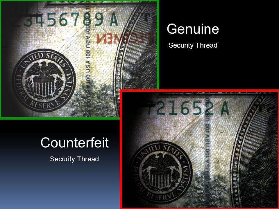 14 Genuine Security Thread Counterfeit