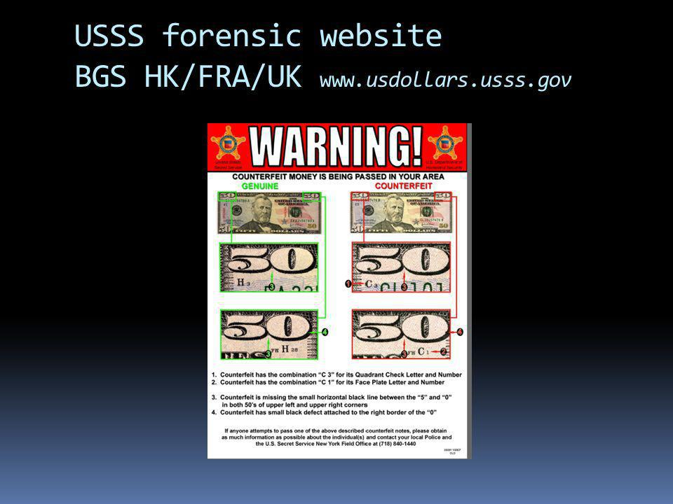 USSS forensic website BGS HK/FRA/UK www.usdollars.usss.gov