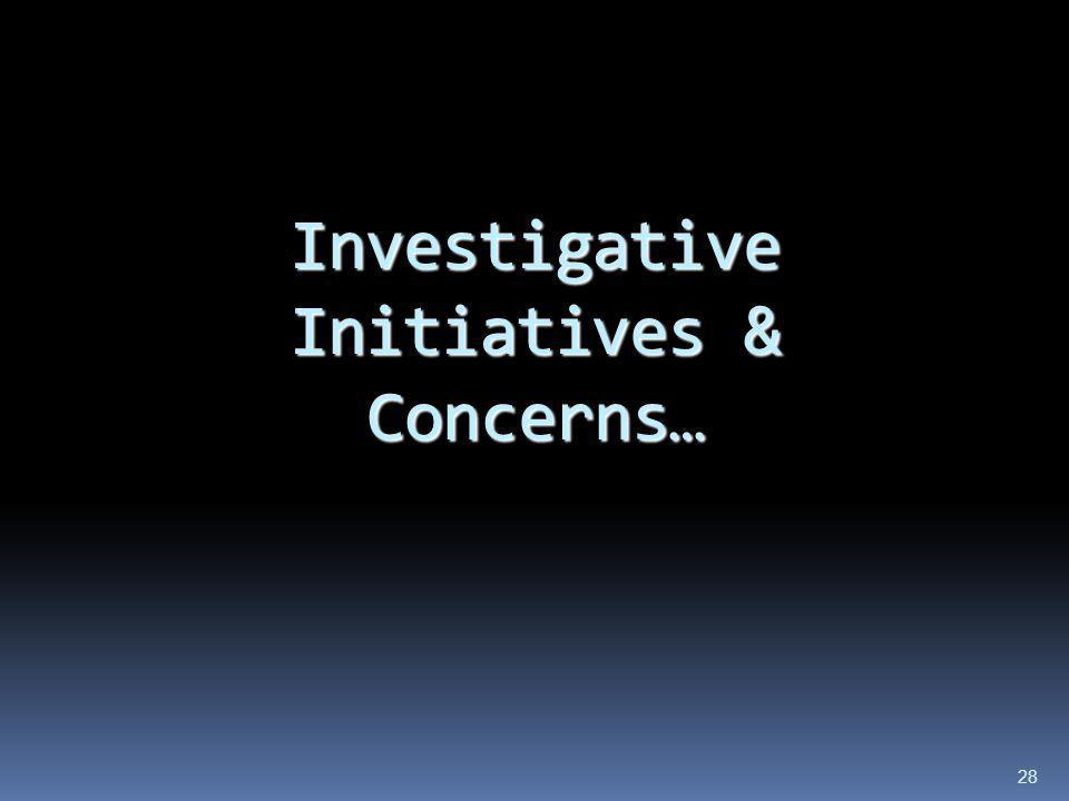 Investigative Initiatives & Concerns … 28