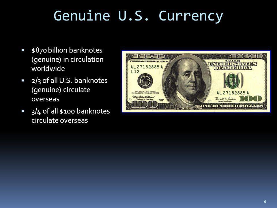 $870 billion banknotes (genuine) in circulation worldwide 2/3 of all U.S.