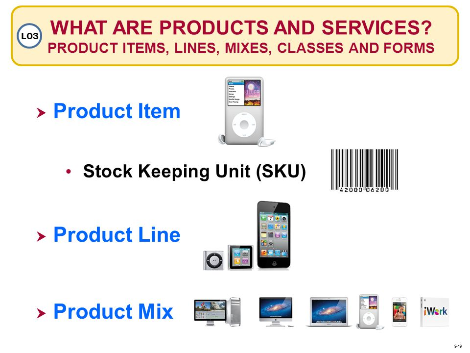 Product Item Product Line Product Mix Stock Keeping Unit (SKU) WHAT ARE PRODUCTS AND SERVICES? PRODUCT ITEMS, LINES, MIXES, CLASSES AND FORMS LO3 9-19