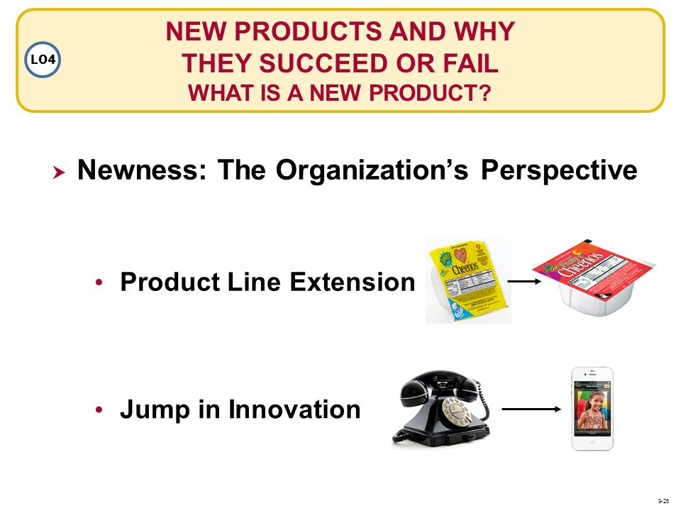 Product Line Extension Jump in Innovation Newness: The Organizations Perspective NEW PRODUCTS AND WHY THEY SUCCEED OR FAIL WHAT IS A NEW PRODUCT? LO4