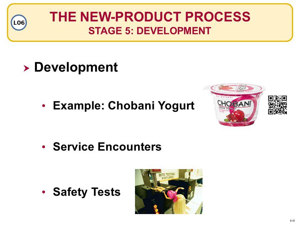 THE NEW-PRODUCT PROCESS STAGE 5: DEVELOPMENT LO6 Service Encounters Example: Chobani Yogurt Safety Tests Development 9-45