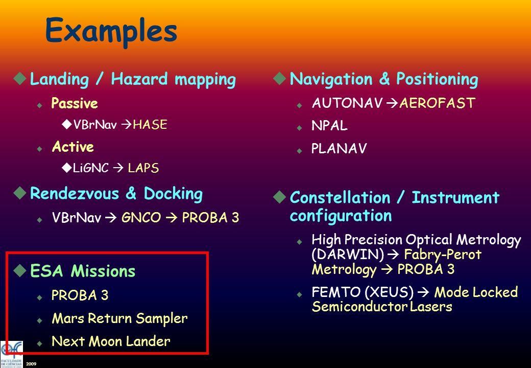 2009 Examples uLanding / Hazard mapping u Passive uVBrNav HASE u Active uLiGNC LAPS uRendezvous & Docking u VBrNav GNCO PROBA 3 uESA Missions u PROBA 3 u Mars Return Sampler u Next Moon Lander uNavigation & Positioning u AUTONAV AEROFAST u NPAL u PLANAV uConstellation / Instrument configuration u High Precision Optical Metrology (DARWIN) Fabry-Perot Metrology PROBA 3 u FEMTO (XEUS) Mode Locked Semiconductor Lasers