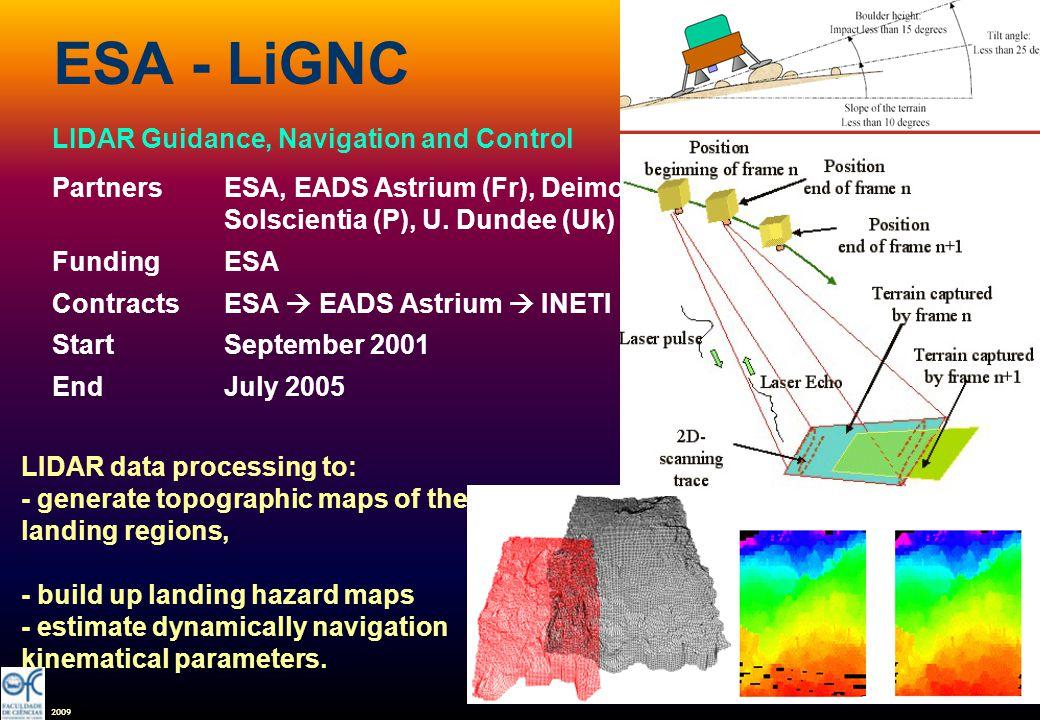 2009 ESA - LiGNC LIDAR Guidance, Navigation and Control PartnersESA, EADS Astrium (Fr), Deimos Engª, Solscientia (P), U.