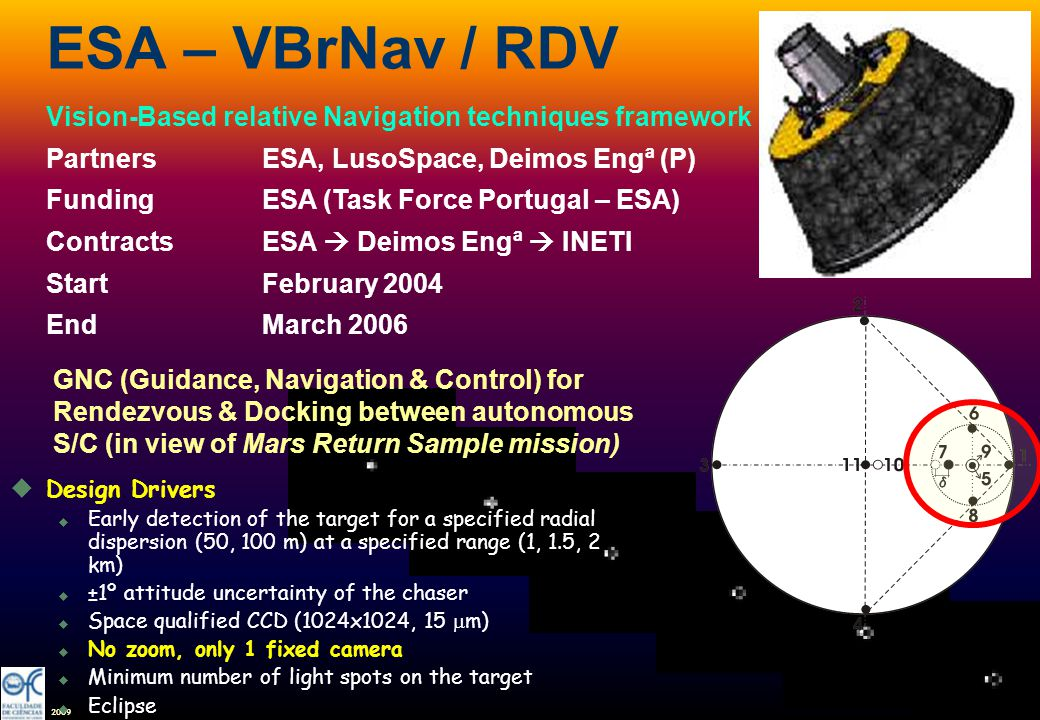 2009 ESA – VBrNav / RDV Vision-Based relative Navigation techniques framework PartnersESA, LusoSpace, Deimos Engª (P) FundingESA (Task Force Portugal
