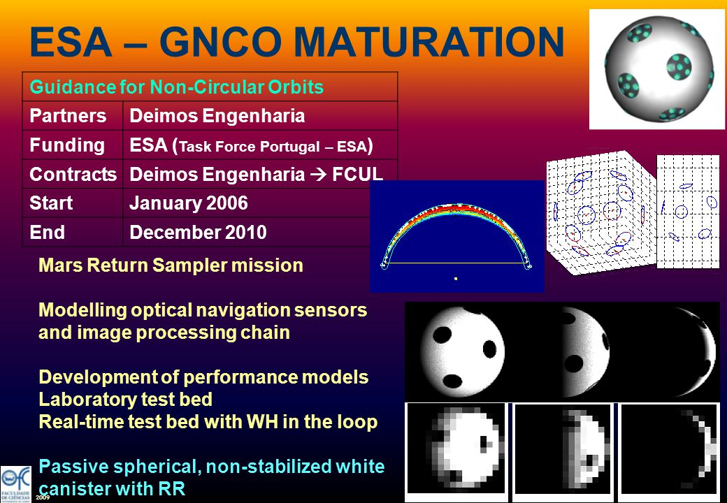 2009 ESA – GNCO MATURATION Guidance for Non-Circular Orbits PartnersDeimos Engenharia FundingESA ( Task Force Portugal – ESA ) ContractsDeimos Engenha