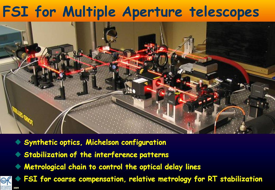 2009 FSI for Multiple Aperture telescopes u.u. uSynthetic optics, Michelson configuration uStabilization of the interference patterns uMetrological ch