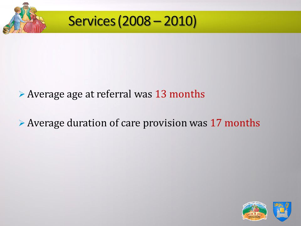 Average age at referral was 13 months Average duration of care provision was 17 months