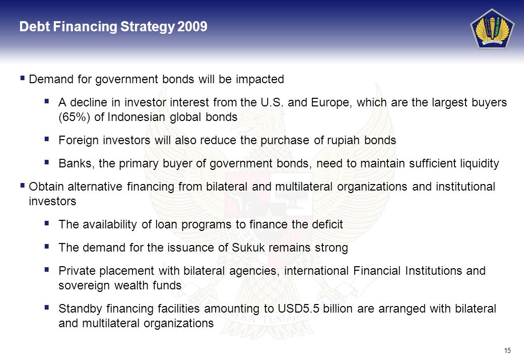 15 Debt Financing Strategy 2009 Demand for government bonds will be impacted A decline in investor interest from the U.S. and Europe, which are the la