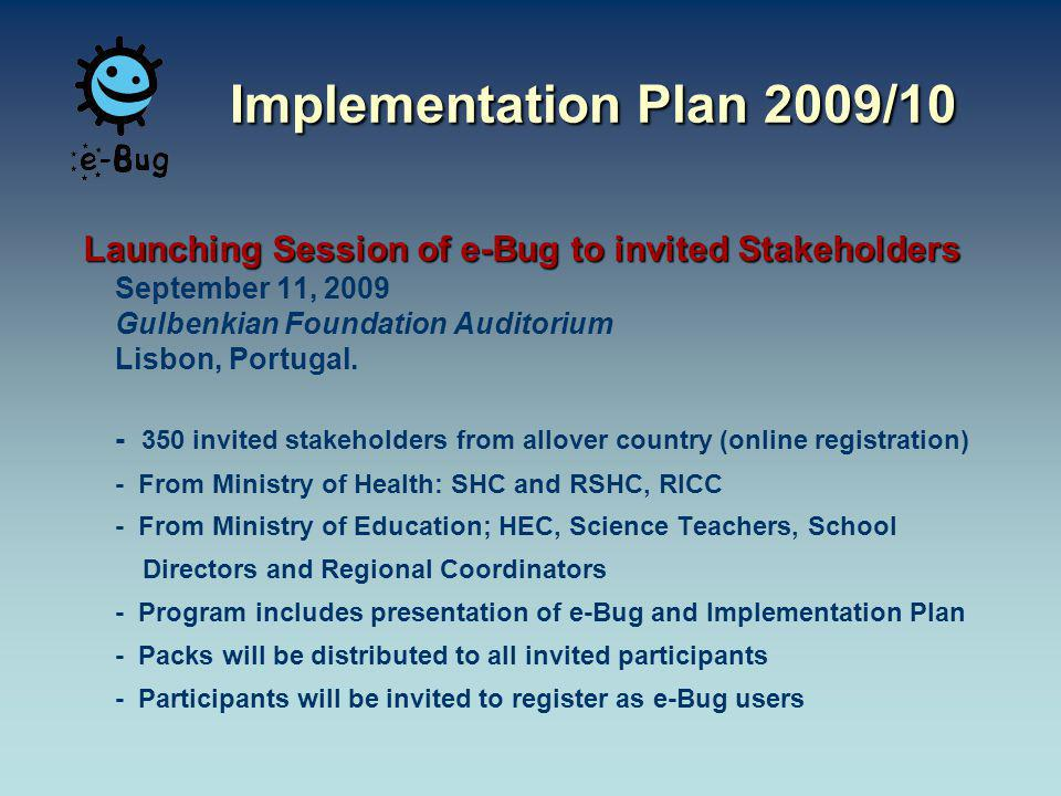 Local Implementation will be supported all over the country by a Moodle Platform (e-learning platform from DGIDC/ME for health education projects): 1.