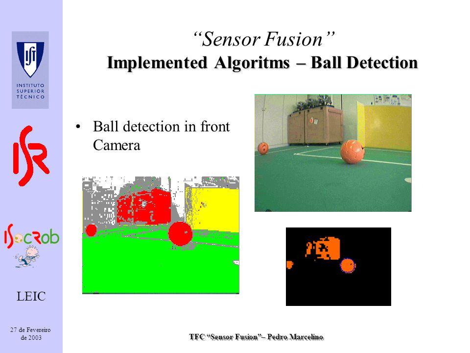 TFC Sensor Fusion– Pedro Marcelino LEIC 27 de Fevereiro de 2003 Ball detection in front Camera Implemented Algoritms – Ball Detection Sensor Fusion Implemented Algoritms – Ball Detection