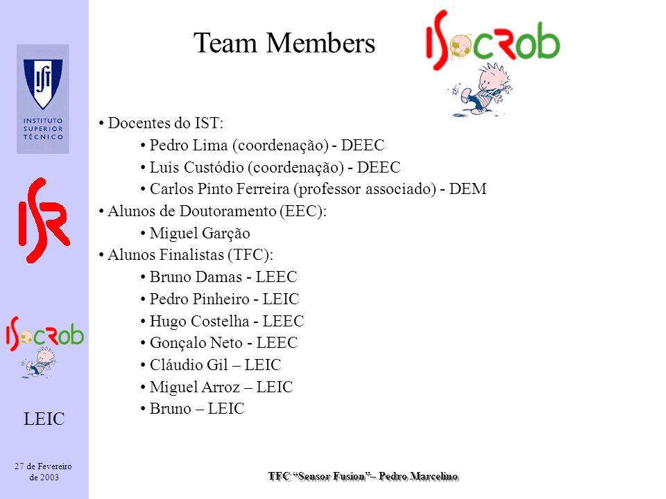 TFC Sensor Fusion– Pedro Marcelino LEIC 27 de Fevereiro de 2003 Team Members Docentes do IST: Pedro Lima (coordenação) - DEEC Luis Custódio (coordenaç