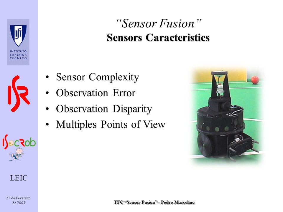 TFC Sensor Fusion– Pedro Marcelino LEIC 27 de Fevereiro de 2003 Sensor Complexity Observation Error Observation Disparity Multiples Points of View Sensors Caracteristics Sensor Fusion Sensors Caracteristics