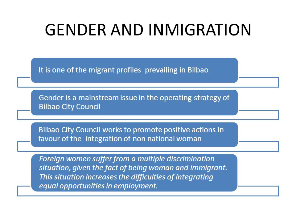 GENDER AND INMIGRATION It is one of the migrant profiles prevailing in Bilbao Gender is a mainstream issue in the operating strategy of Bilbao City Council Bilbao City Council works to promote positive actions in favour of the integration of non national woman Foreign women suffer from a multiple discrimination situation, given the fact of being woman and immigrant.