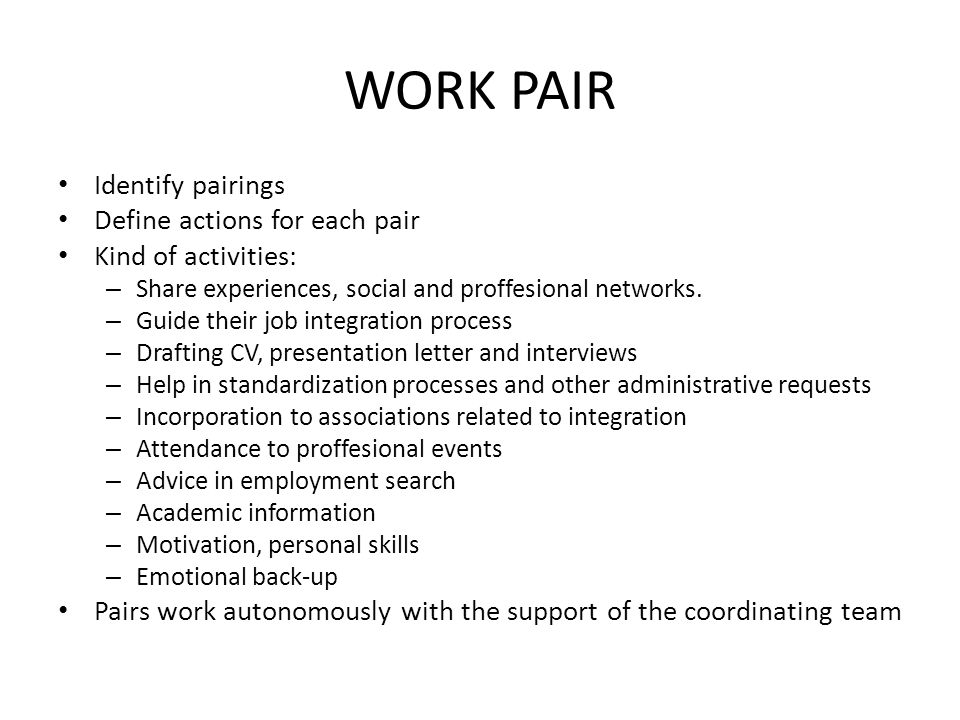 WORK PAIR Identify pairings Define actions for each pair Kind of activities: – Share experiences, social and proffesional networks.