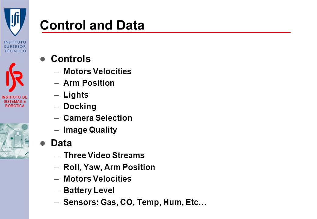 INSTITUTO DE SISTEMAS E ROBÓTICA Control and Data Controls –Motors Velocities –Arm Position –Lights –Docking –Camera Selection –Image Quality Data –Three Video Streams –Roll, Yaw, Arm Position –Motors Velocities –Battery Level –Sensors: Gas, CO, Temp, Hum, Etc…
