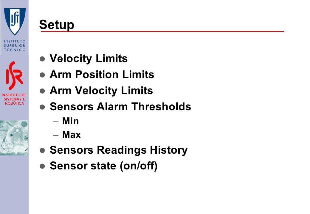 INSTITUTO DE SISTEMAS E ROBÓTICA Setup Velocity Limits Arm Position Limits Arm Velocity Limits Sensors Alarm Thresholds –Min –Max Sensors Readings History Sensor state (on/off)