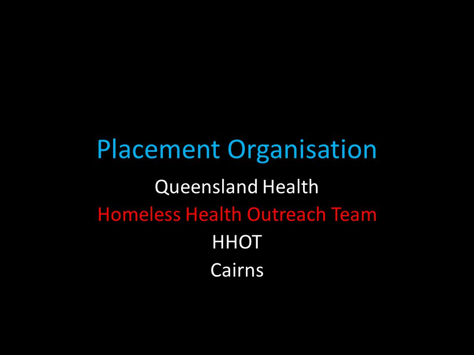 After the initial development of a HHOT in Cairns in (2007) additional non-government organisation services were developed in Cairns as funding opportunities increased in response to the changing demographics of the local community.