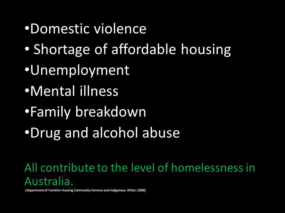 Primary Homelessness people without conventional accommodation living on the streets sleeping in parks squatting in derelict buildings or using cars or railway carriages for temporary shelter.
