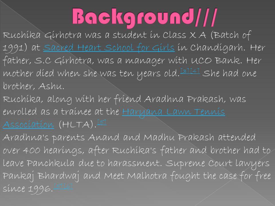 The Ruchika Girhotra Case involves the molestation of 14-year-old Ruchika Girhotra in 1990 by the Inspector General of Police Shambhu Pratap Singh Rat