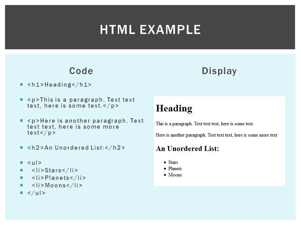 Code body { color:black; font-family: Trebuchet MS , Helvetica, sans- serif; background- color:#b0c4de; } h1 {color:#101C6B;} h2 {color:#2038D6;} Display CSS EXAMPLE