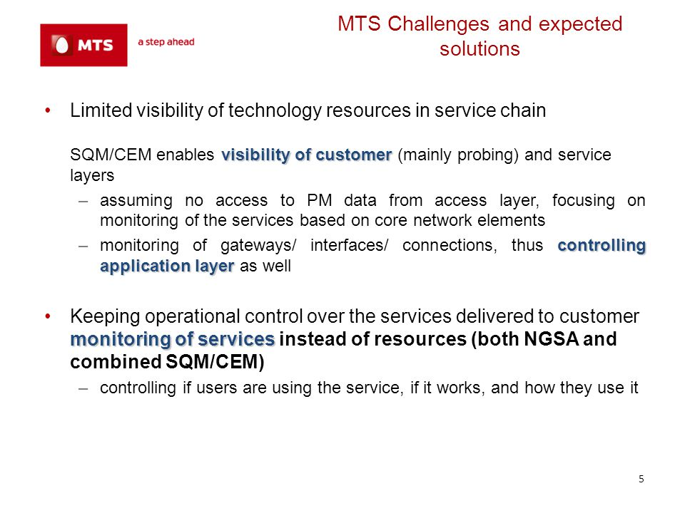 MTS Challenges and expected solutions Limited capabilities in terms of financials and HR –high level of automation –high level of automation (monitoring of selected customers, VIPs) –proactive approach –proactive approach (tackling the issue before it becomes visible to the user, e.g., prediction algorithms, statistical computation) Management Layer/OSS flexibility and platform openness –open architecture, documented APIs –scalable and extendable Service/Products Lifecycle shortening –instant configuration –instant configuration of services and monitoring options by the system users – no need for assistance from Comarch side huge reduction of time –thanks to friendly and intuitive GUI huge reduction of time needed for service configuration and enabling of service monitoring 6