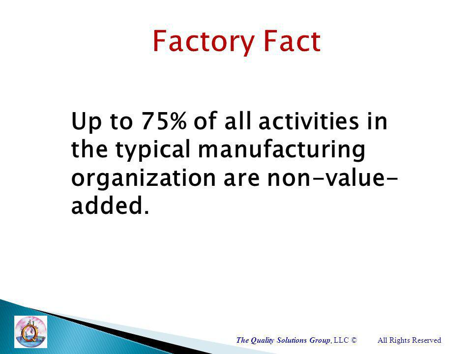 The Quality Solutions Group, LLC ©All Rights Reserved Up to 75% of all activities in the typical manufacturing organization are non-value- added.