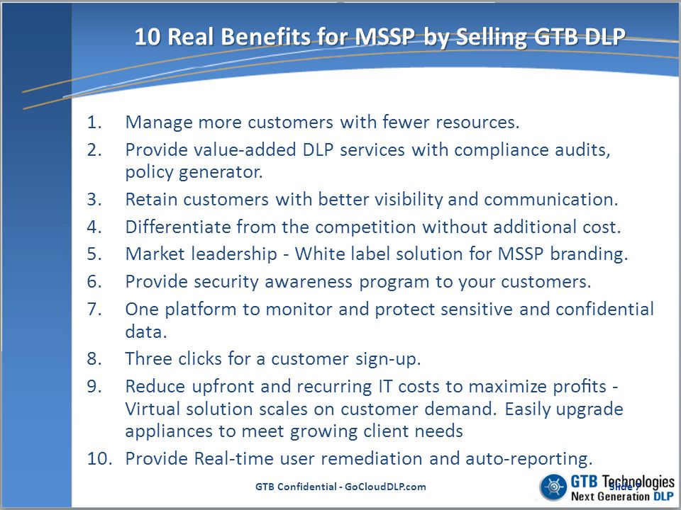 Clear Advantages For MSSP 1.Low initial investment in DLP equipment and monthly lease options drastically reduce the up-front capital investment.