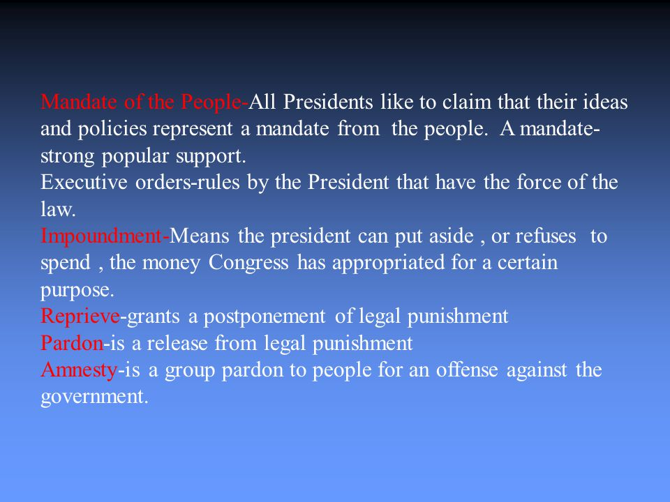Roles of the President The President of the U.S.