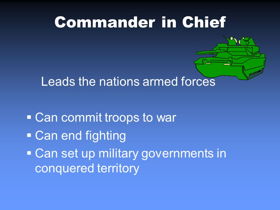 Commander in Chief Leads the nations armed forces Can commit troops to war Can end fighting Can set up military governments in conquered territory