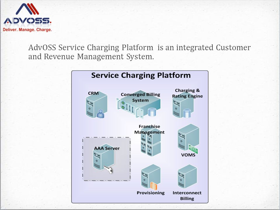 AdvOSS Service Charging Platform is an integrated Customer and Revenue Management System.