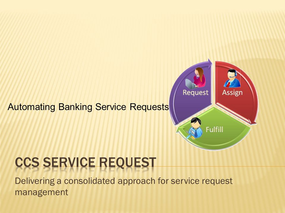 Delivering a consolidated approach for service request management Automating Banking Service Requests