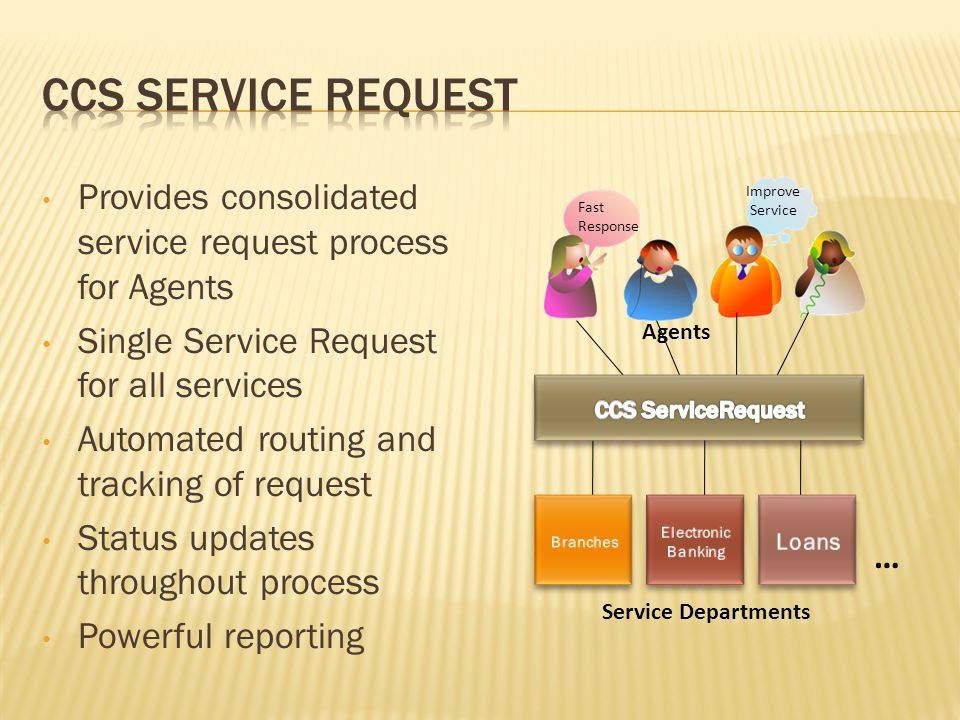 Provides consolidated service request process for Agents Single Service Request for all services Automated routing and tracking of request Status updates throughout process Powerful reporting Fast Response Improve Service … Agents Service Departments