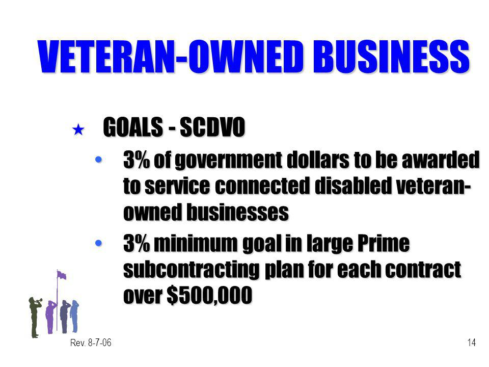 Rev. 8-7-0614 VETERAN-OWNED BUSINESS « GOALS - SCDVO 3% of government dollars to be awarded to service connected disabled veteran- owned businesses3%