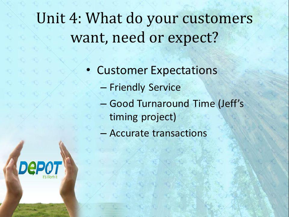 Unit 4: What do your customers want, need or expect.