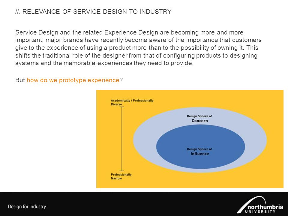 //. RELEVANCE OF SERVICE DESIGN TO INDUSTRY Service Design and the related Experience Design are becoming more and more important, major brands have r