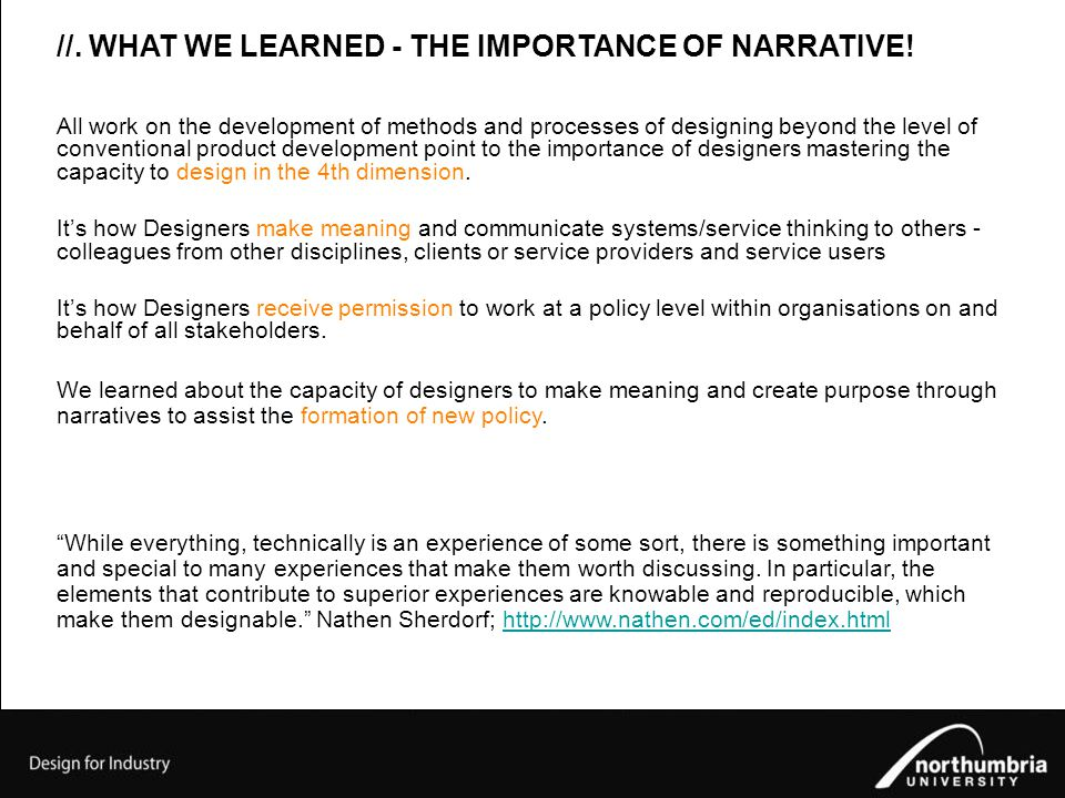 //. WHAT WE LEARNED - THE IMPORTANCE OF NARRATIVE.