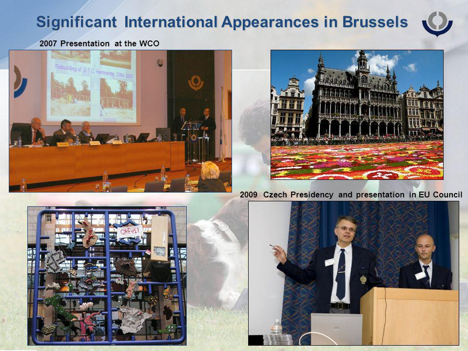 Significant International Appearances in Brussels 2009 Czech Presidency and presentation in EU Council 2007 Presentation at the WCO