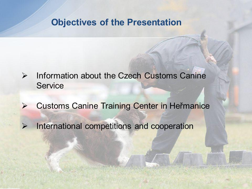 Objectives of the Presentation Information about the Czech Customs Canine Service Customs Canine Training Center in Heřmanice International competitio